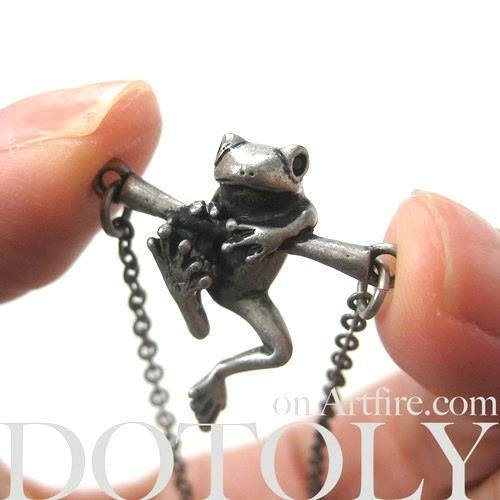 Baby Frog on a Branch Animal Charm Necklace in Silver | Animal Jewelry | DOTOLY