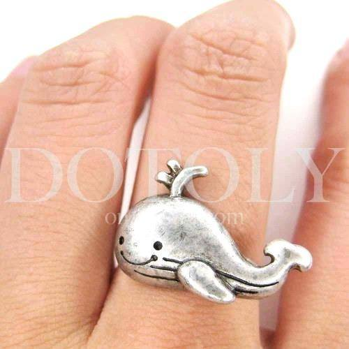 Adorable Whale Shaped Adjustable Animal Ring in Silver | DOTOLY | DOTOLY