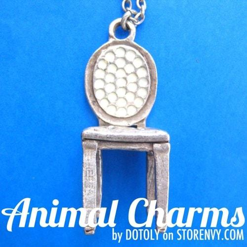 Miniature Antique Chair Shaped Pendant in Silver on SALE | DOTOLY | DOTOLY