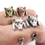 DOTOLY 3D Pig Shaped Animal Wrap Rings in Silver Brass Copper Size 3 to 8.5
