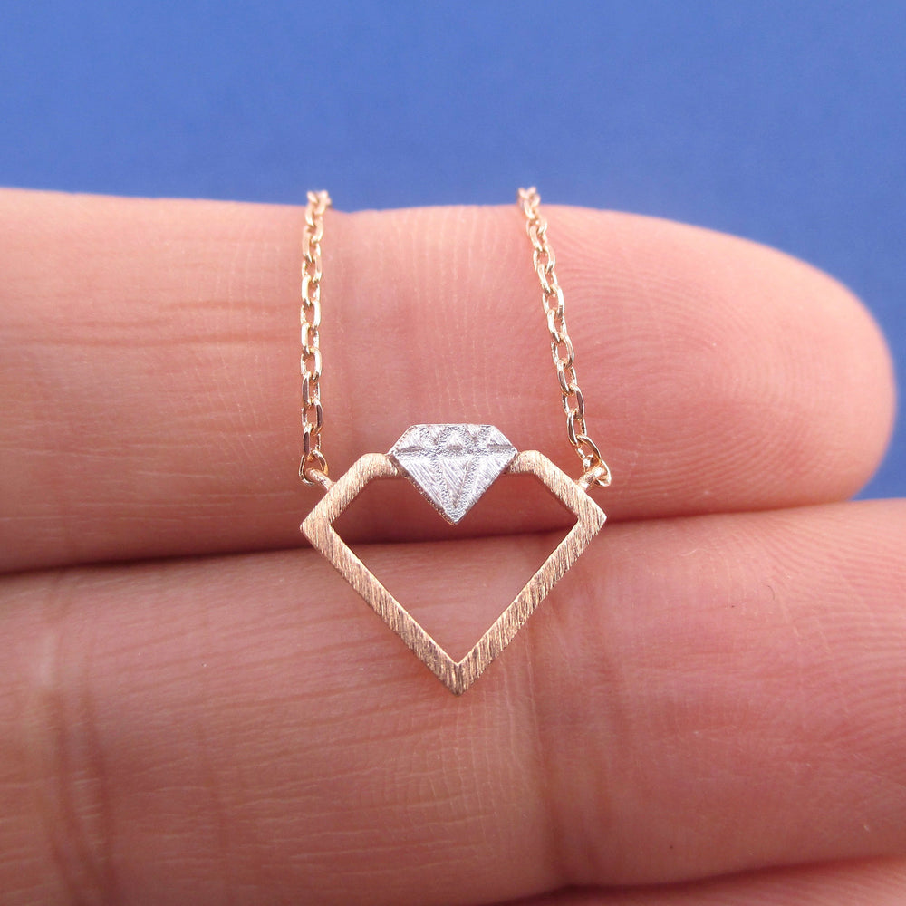 Double Diamond Shaped Outline Pendant Necklace | Gifts for Her