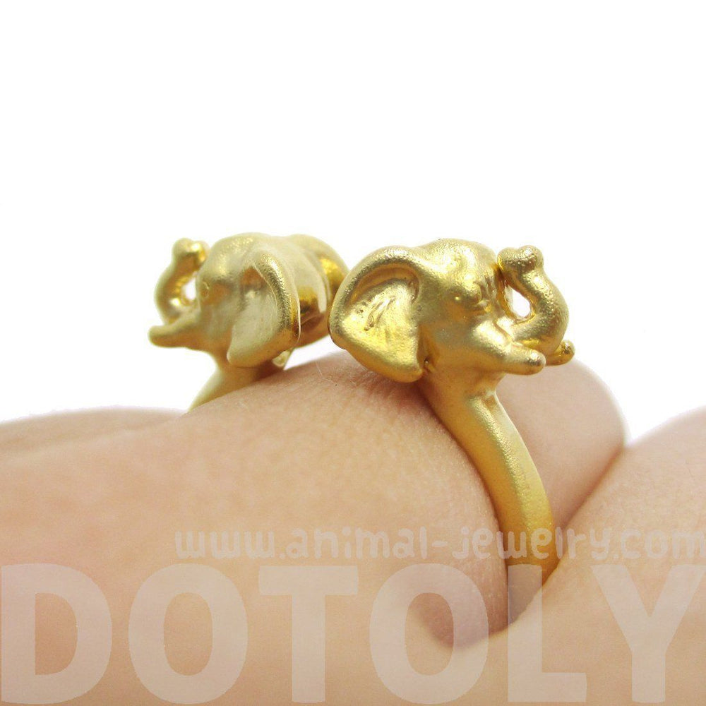 Double Elephant Head Shaped Sleek Animal Ring in Gold – DOTOLY