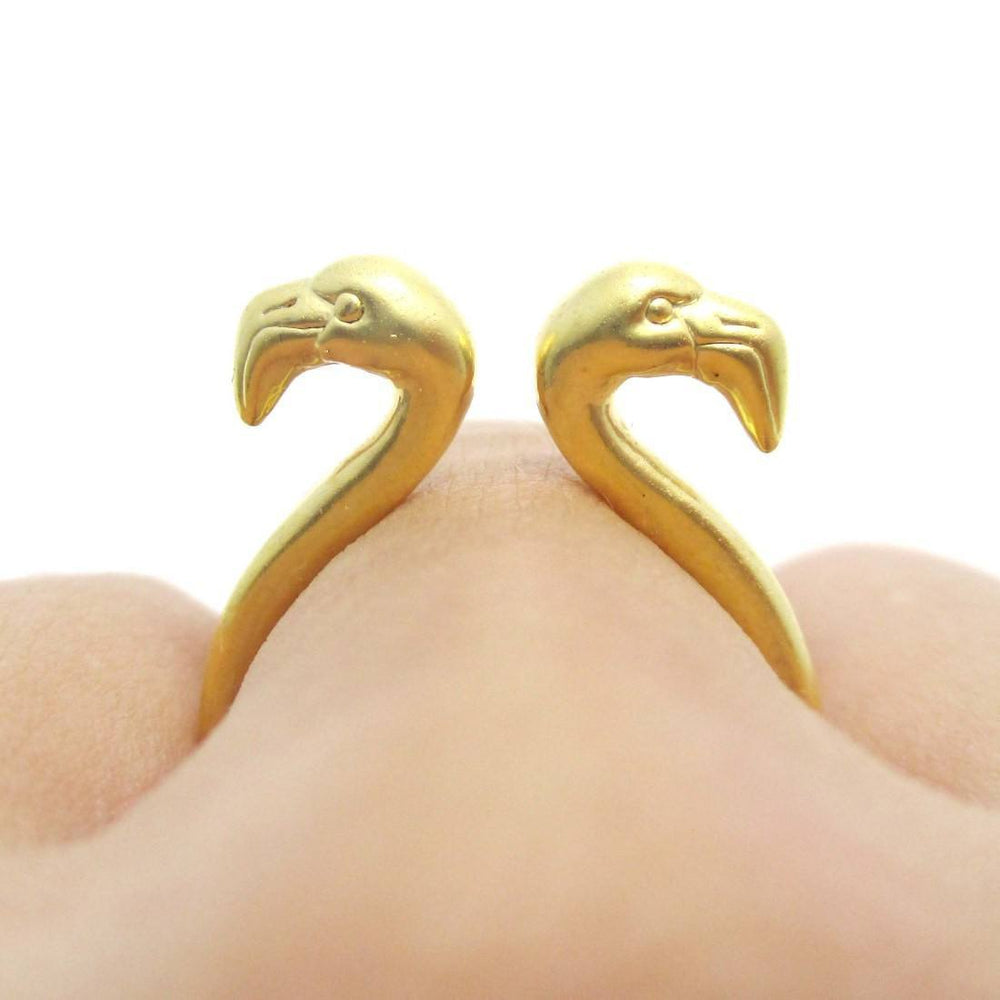 3D Double Flamingo Bird Head Shaped Sleek Ring in Gold