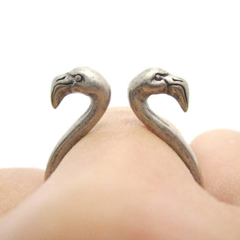 3D Double Flamingo Bird Head Shaped Sleek Ring in Silver