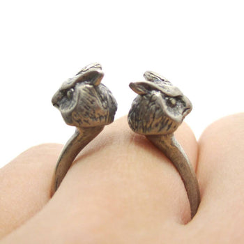 3D Double Owl Bird Head Shaped Sleek Ring in Silver