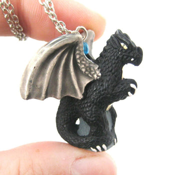 Dragon Shaped Porcelain Ceramic Targaryen Pendant Necklace in Black