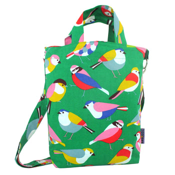 Bright Green Colorful Bird Print Crossbody Duck Top Handle Tote Bag