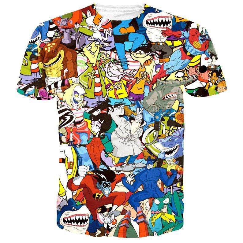 Street Sharks Pinky Brain 90s Cartoon Collage Print Tee