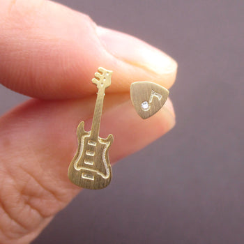 Electric Bass Guitar and Plectrum Pick Shaped Musical Instrument Stud Earrings