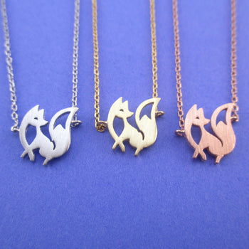 Elegant Fennec Fox with Bushy Tail Shaped Silhouette Pendant Necklace