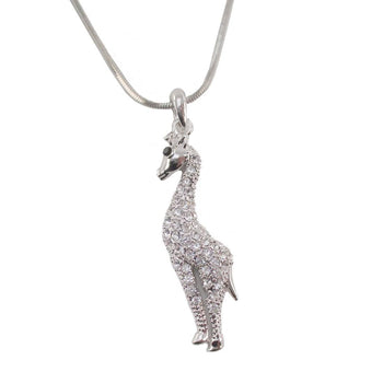 Elegant Giraffe Shaped Pendant Necklace in Silver with Rhinestones