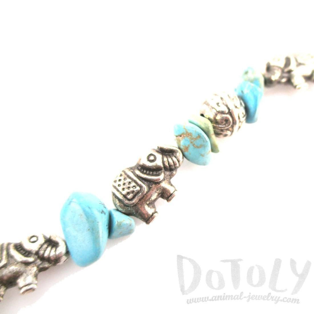Elephant Charms and Turquoise Stones Shaped Beaded Bracelet in Silver