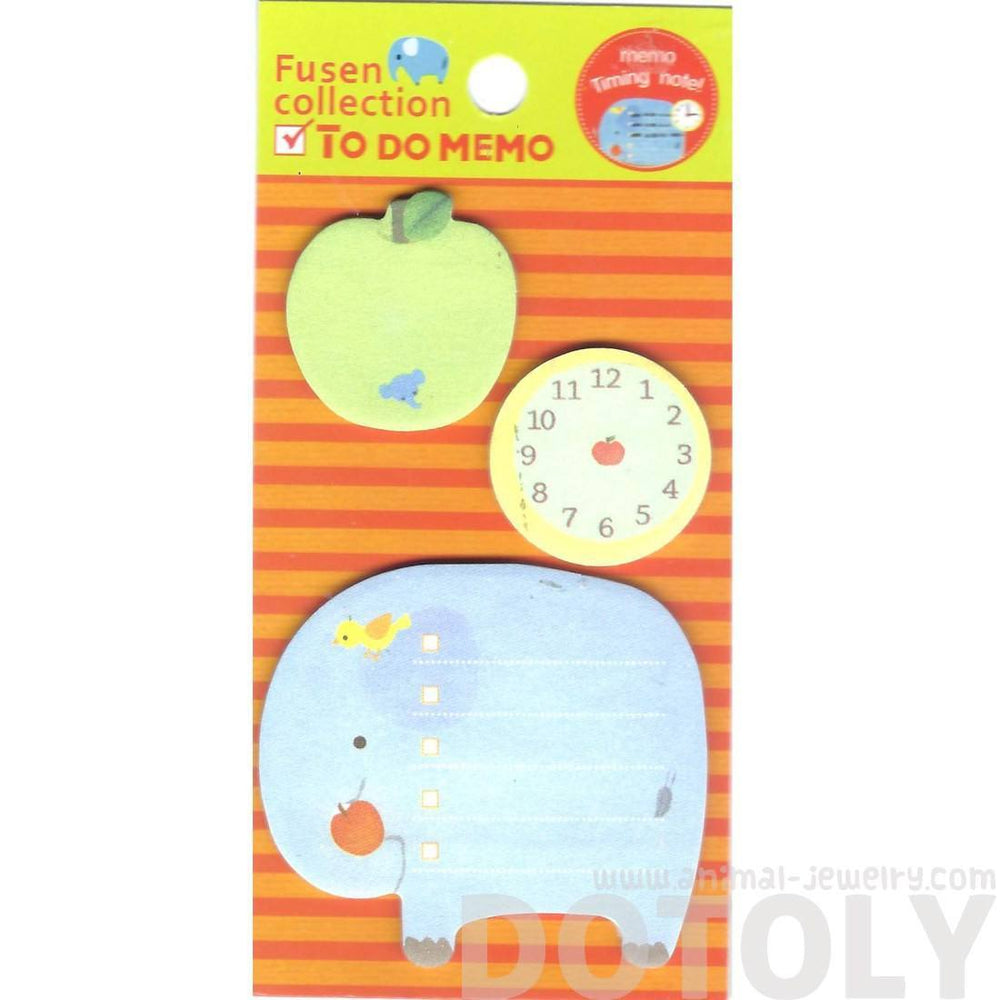 Elephant Clock and Apple Shaped To Do List Adhesive Post-it Memo Pad