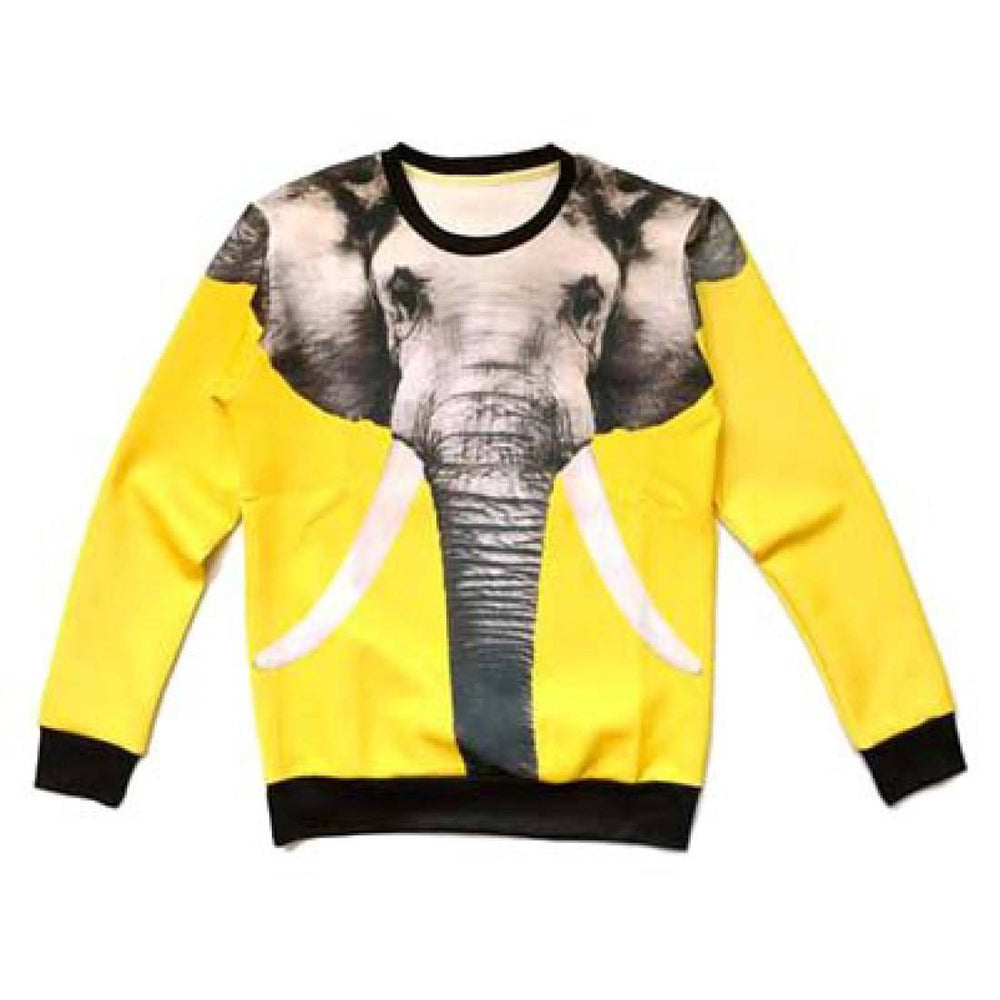 Realistic Elephant Graphic Print Unisex Pullover Sweater in Yellow