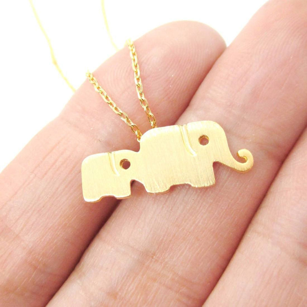Elephant Family Animal Shaped Silhouette Pendant Necklace in Gold