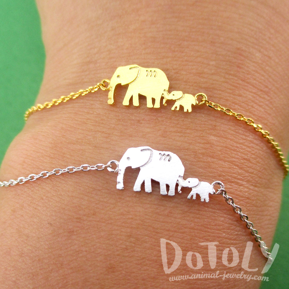 1072405d817cb Elephant Family Mom and Baby Silhouette Shaped Charm Bracelet | DOTOLY