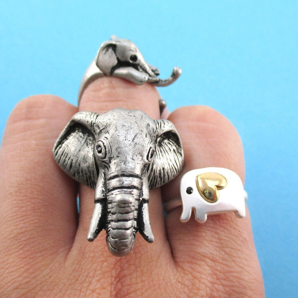 Elephant Inspired Animal Ring 3 Piece Jewelry Set in Silver | SALE