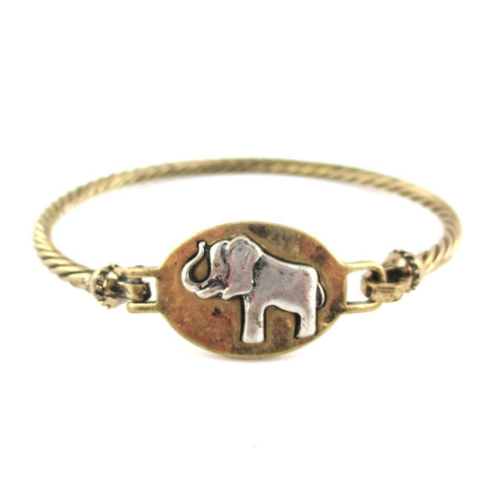 Elephant Medallion Textured Bangle Bracelet in Brass | Animal Jewelry