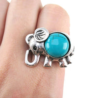 Silver Elephant Shaped Animal Ring with Turquoise Stone