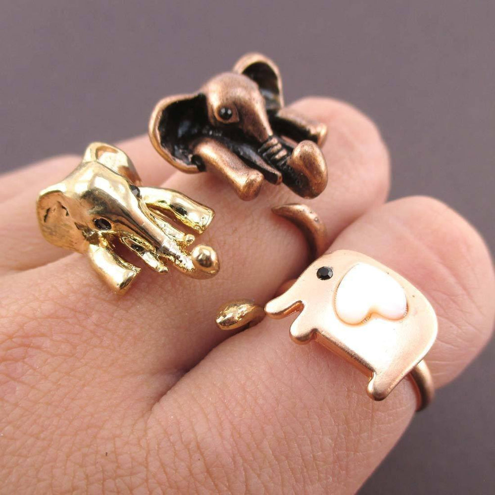 Elephant Shaped Animal Rings 3 Piece Jewelry Set | SALE | DOTOLY