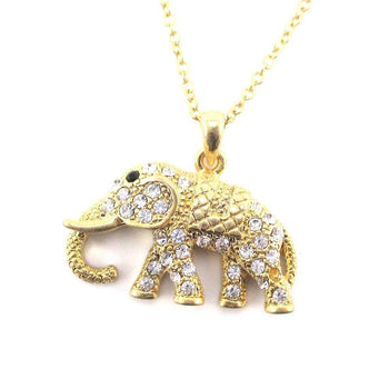Elephant Shaped Pendant Necklace in Antique Gold with Rhinestones