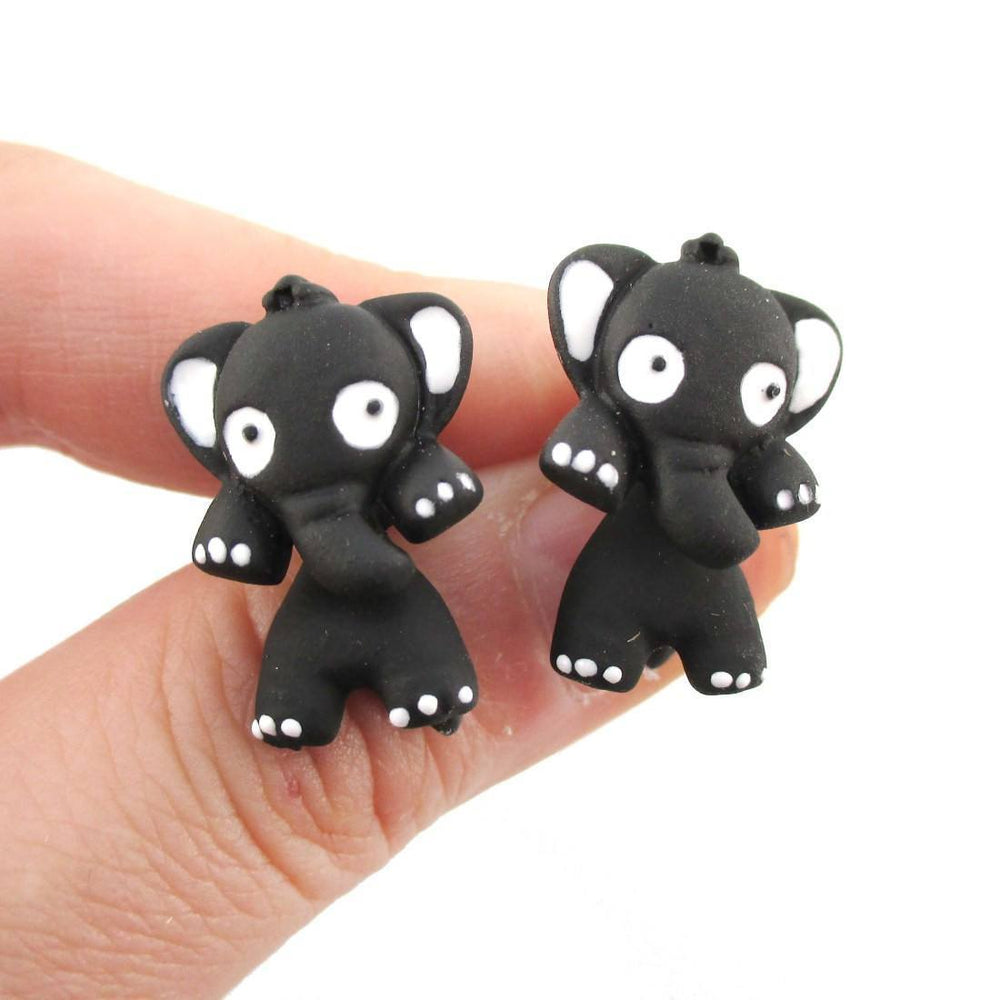 Elephant Shaped Two Part Stud Earrings in Black