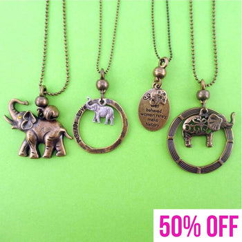 Elephant Themed 4 Piece Necklace Bundle Set in Bronze | Animal Jewelry