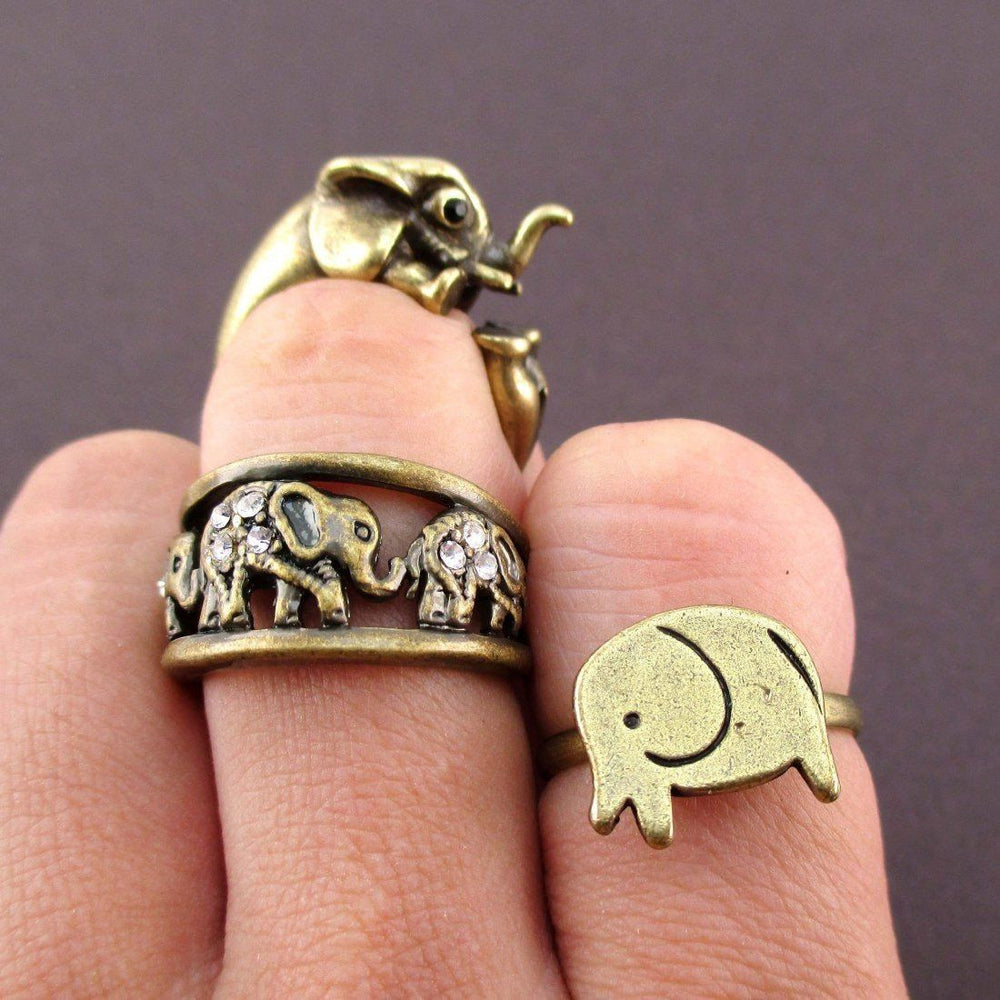 Elephant Totem 3 Piece Animal Ring Jewelry Set in Brass | SALE