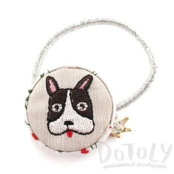 Embroidered Boston Terrier Puppy Print Button Hair Tie