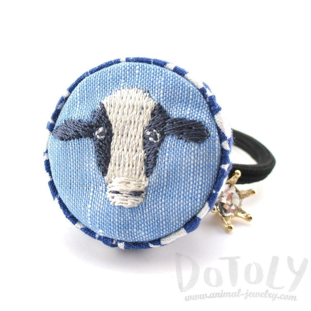 Cow Face Embroidered Button Hair Tie For Animal Lovers