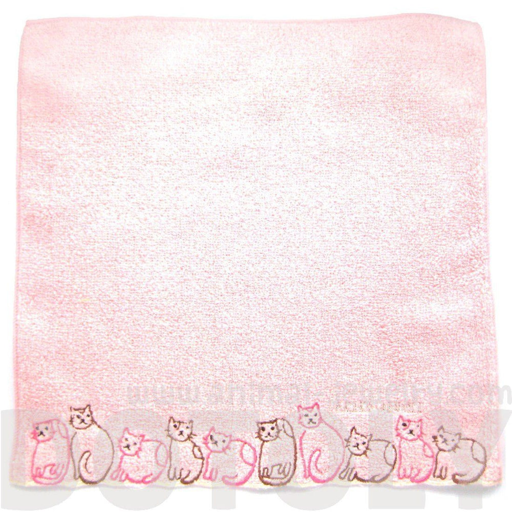 Embroidered Kitty Cat Animal Themed Handkerchief Face Towel in Pink | Japan | DOTOLY