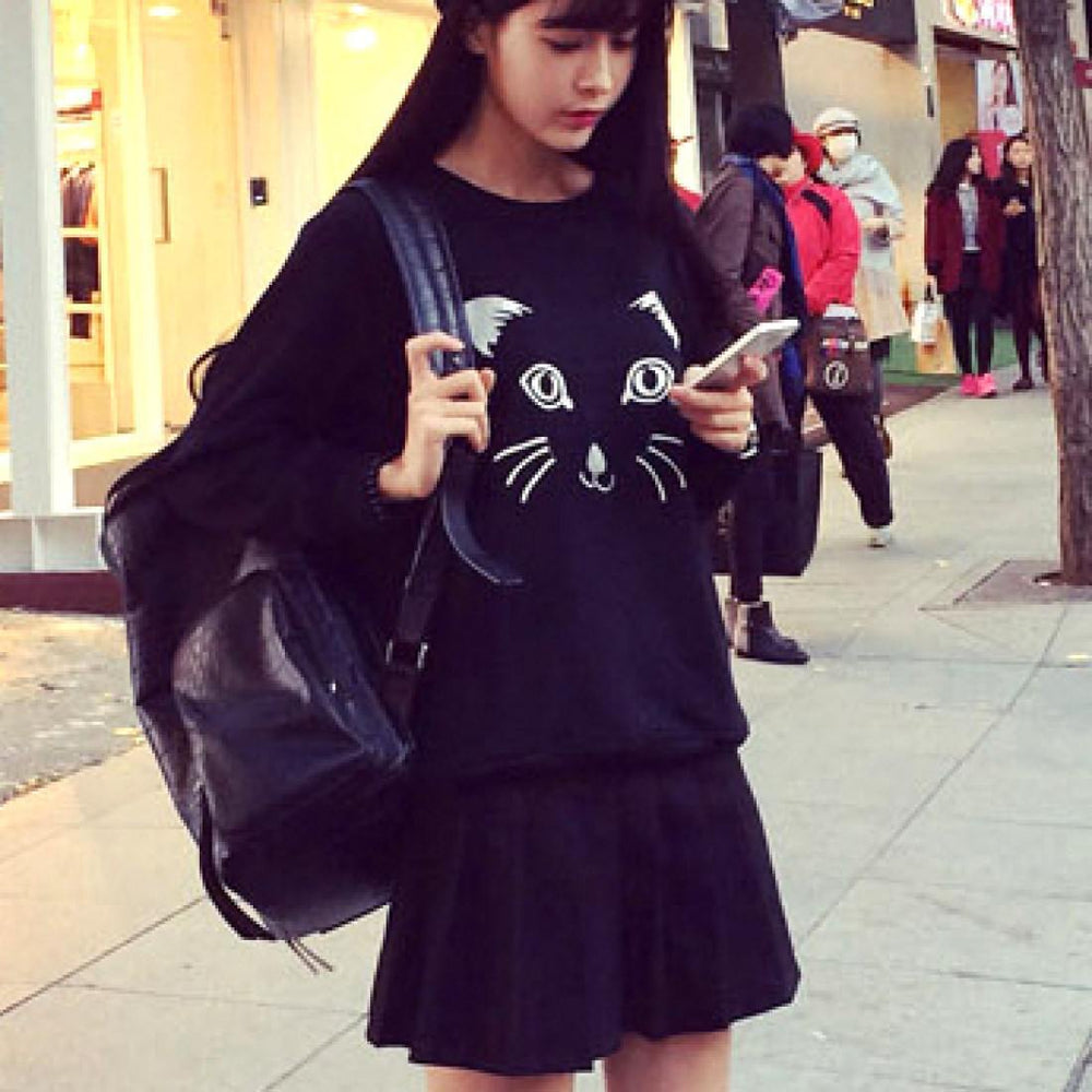 Embroidered Kitty Cat Face Long Sleeve Pullover Sweatshirt Sweater