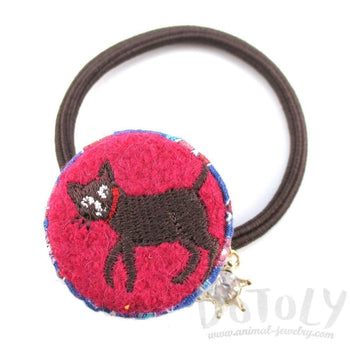 Embroidered Kitty Cat Floral Print Button Hair Tie