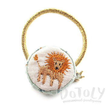 Embroidered Lion Button Hair Tie For Animal Lovers