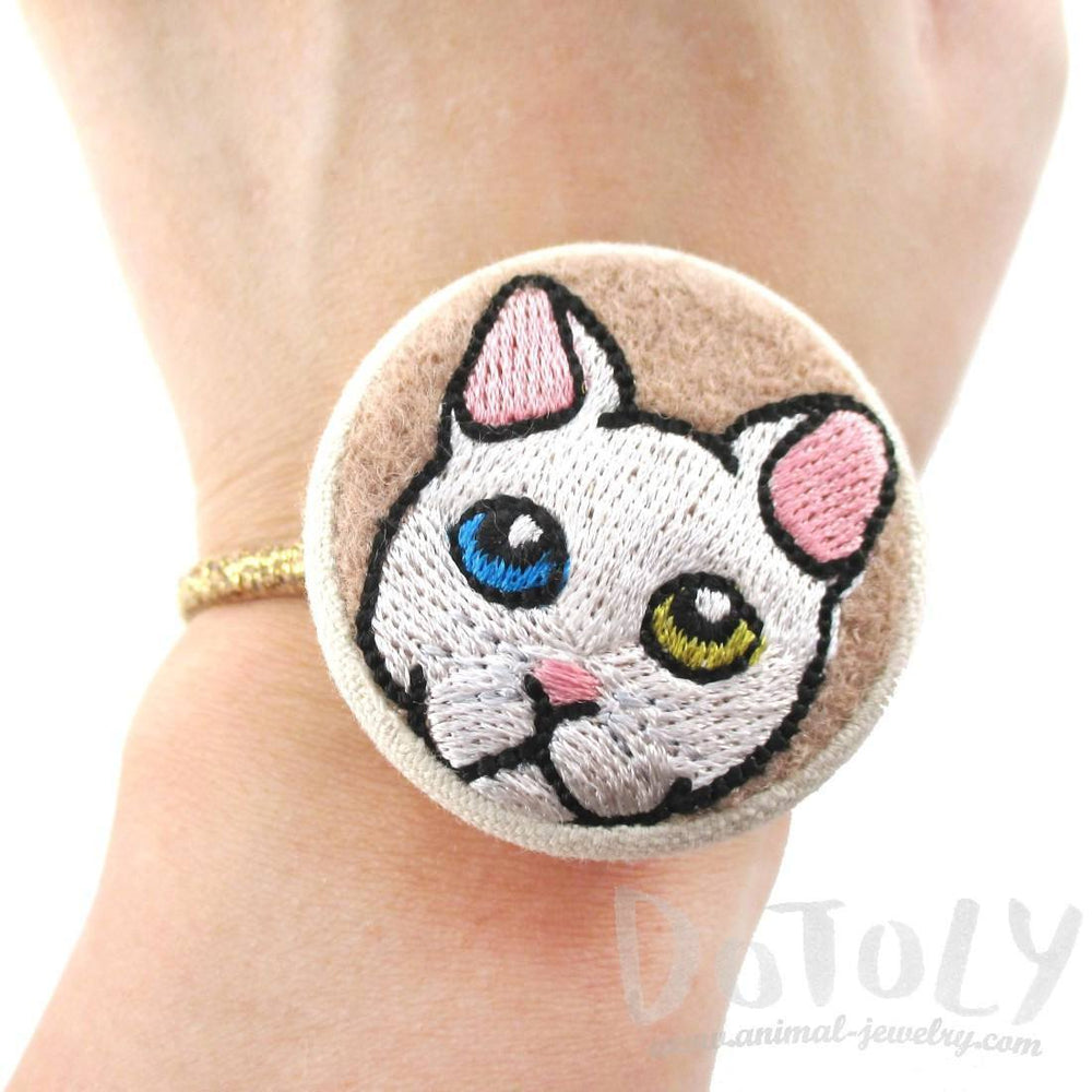 Embroidered Odd-eyed Kitty Cat Button Hair Tie Pony Tail Holder