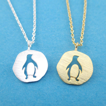 Emperor Penguin Cut Out Shaped Round Arctic Animal Pendant Necklace