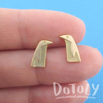 Emperor Penguin Shaped Allergy Free Stud Earrings in Gold