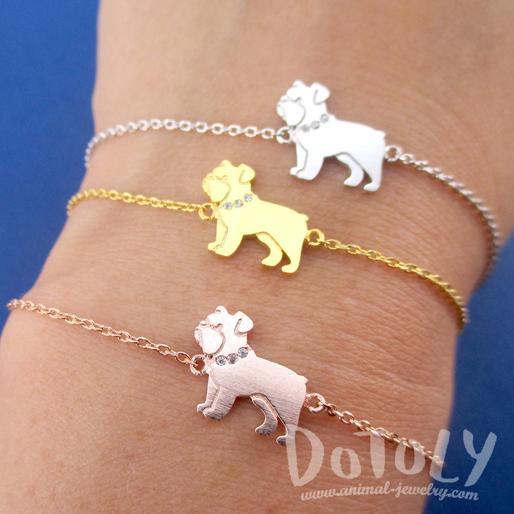 English Bulldog Dog Shaped Charm Bracelet in Silver Gold or Rose Gold