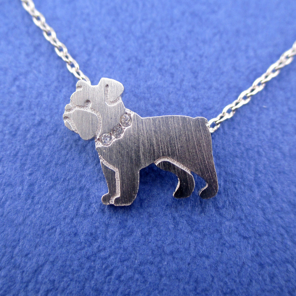 English Bulldog Shaped Charm Necklace for Dog Lovers in Silver | Animal Jewelry
