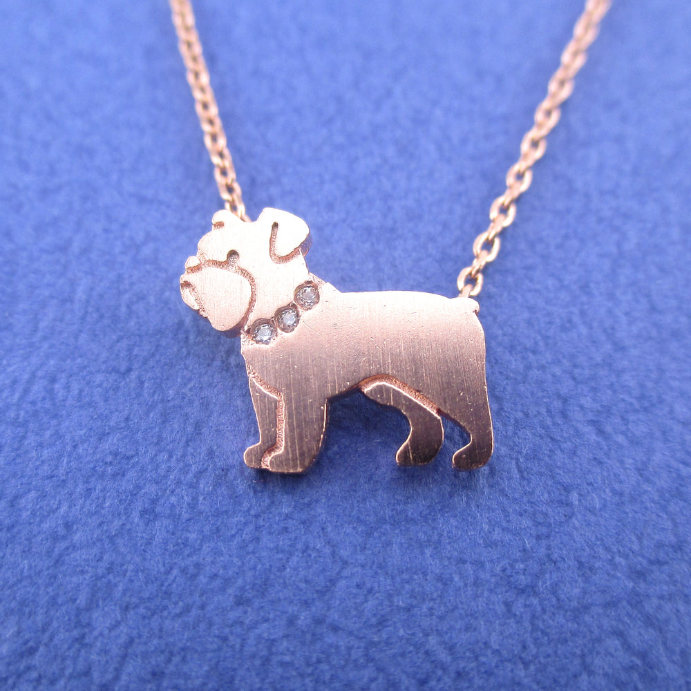 English Bulldog Shaped Charm Necklace for Dog Lovers in Rose Gold | Animal Jewelry