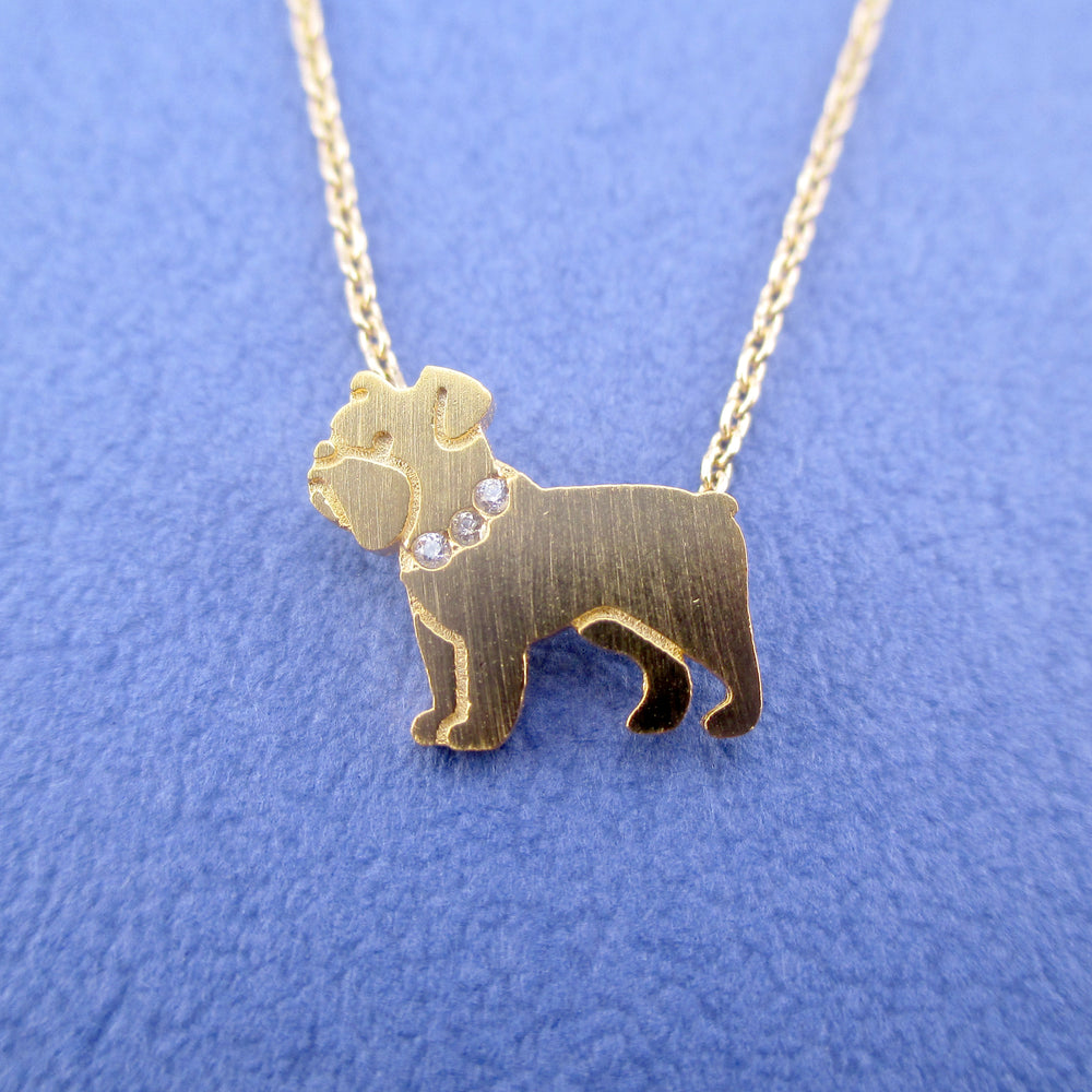English Bulldog Shaped Charm Necklace for Dog Lovers in Gold | Animal Jewelry