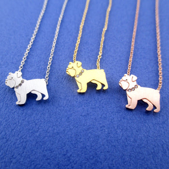 English Bulldog Shaped Charm Necklace for Dog Lovers | Animal Jewelry
