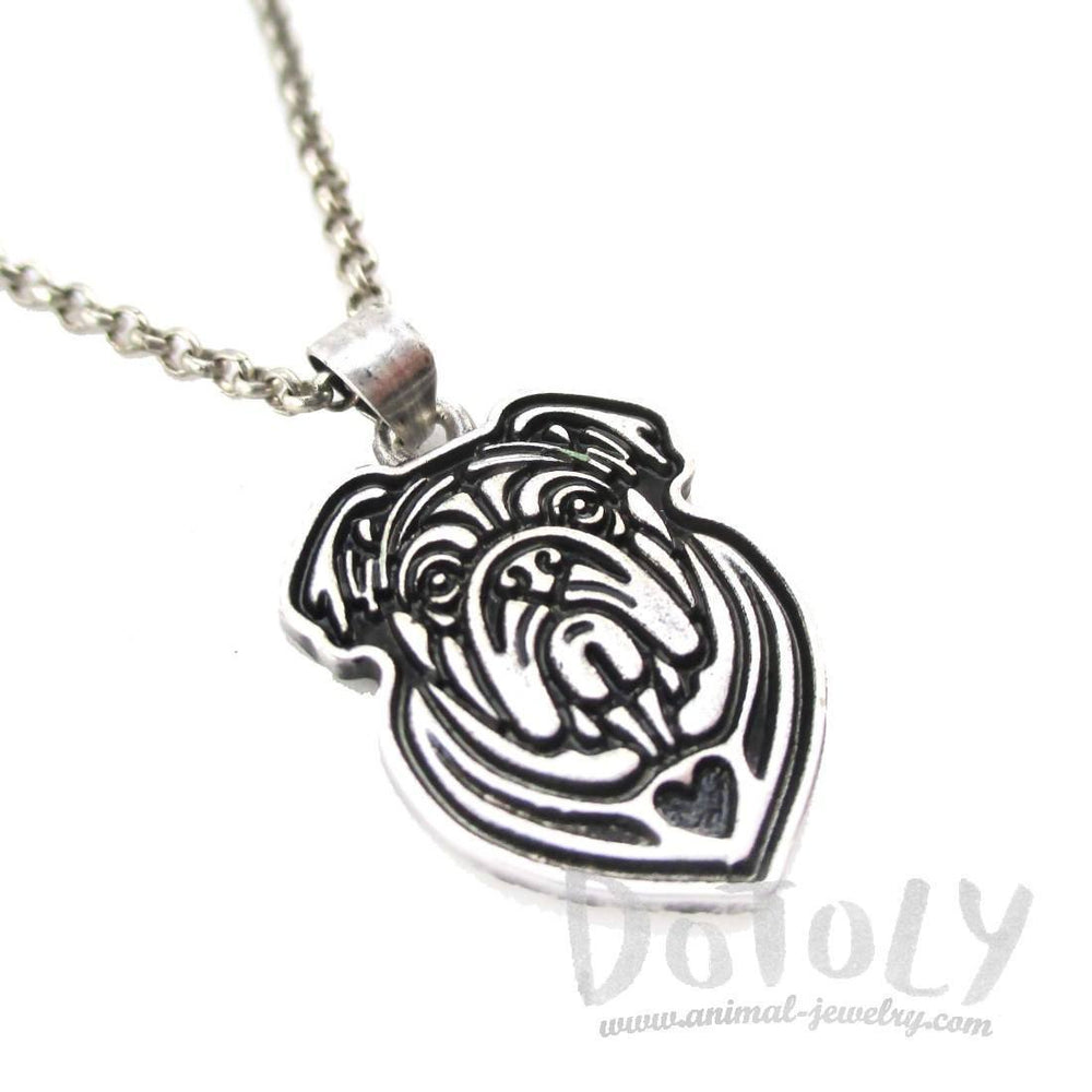 English Bulldog Shaped Pendant Necklace in Silver | Animal Jewelry