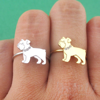 English Bulldog with Rhinestone Collar Shaped Adjustable Ring | DOTOLY
