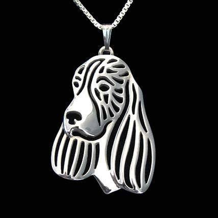 English Springer Spaniel Dog Shaped Pendant Necklace