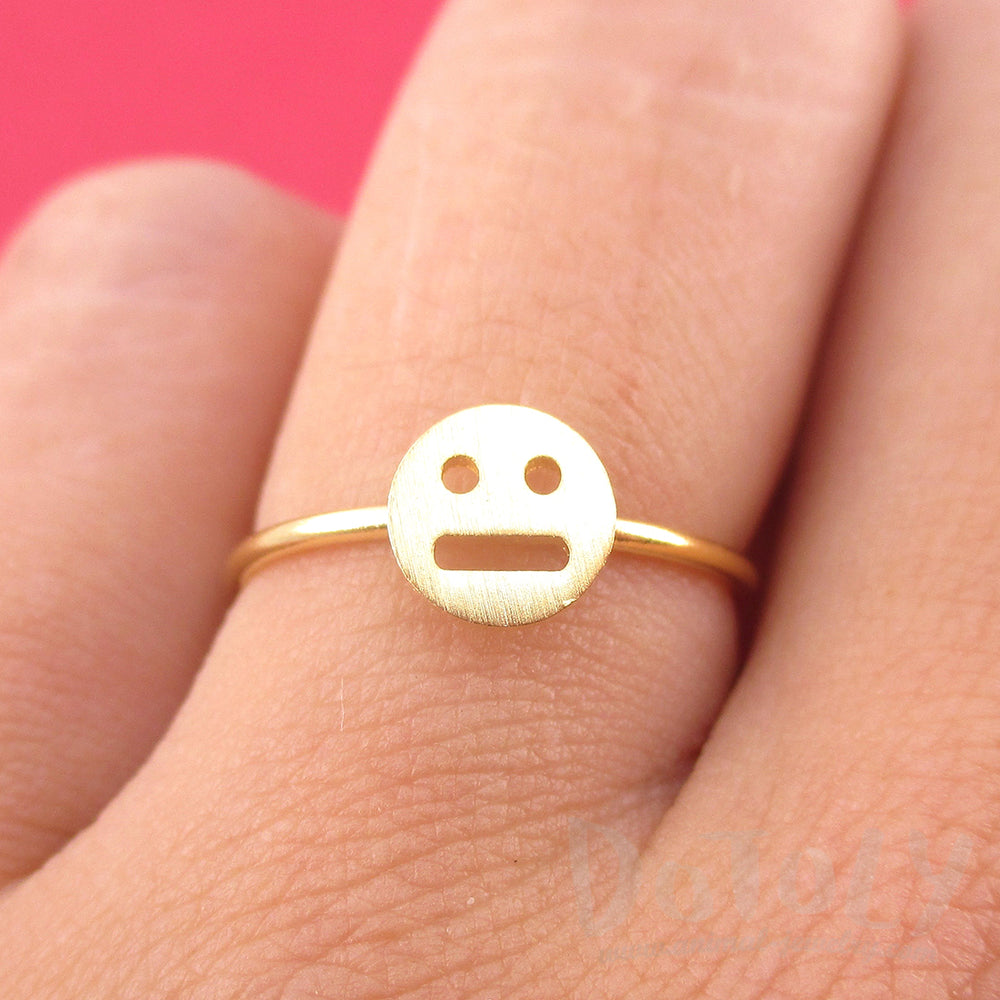 Expressionless Smile Meh Indifferent Face Emoji Themed Adjustable Ring Emoticon