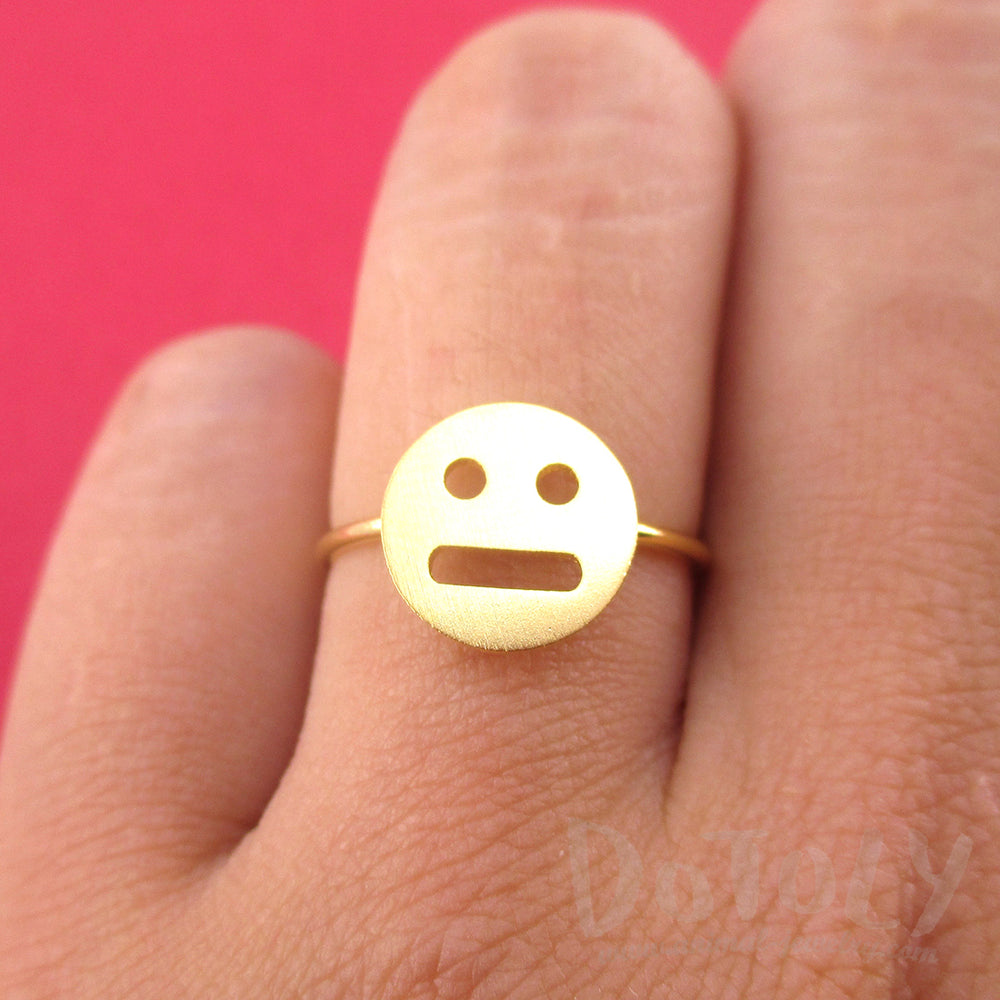 Expressionless Smile Meh Indifferent Face Emoji Themed Adjustable Ring in Gold