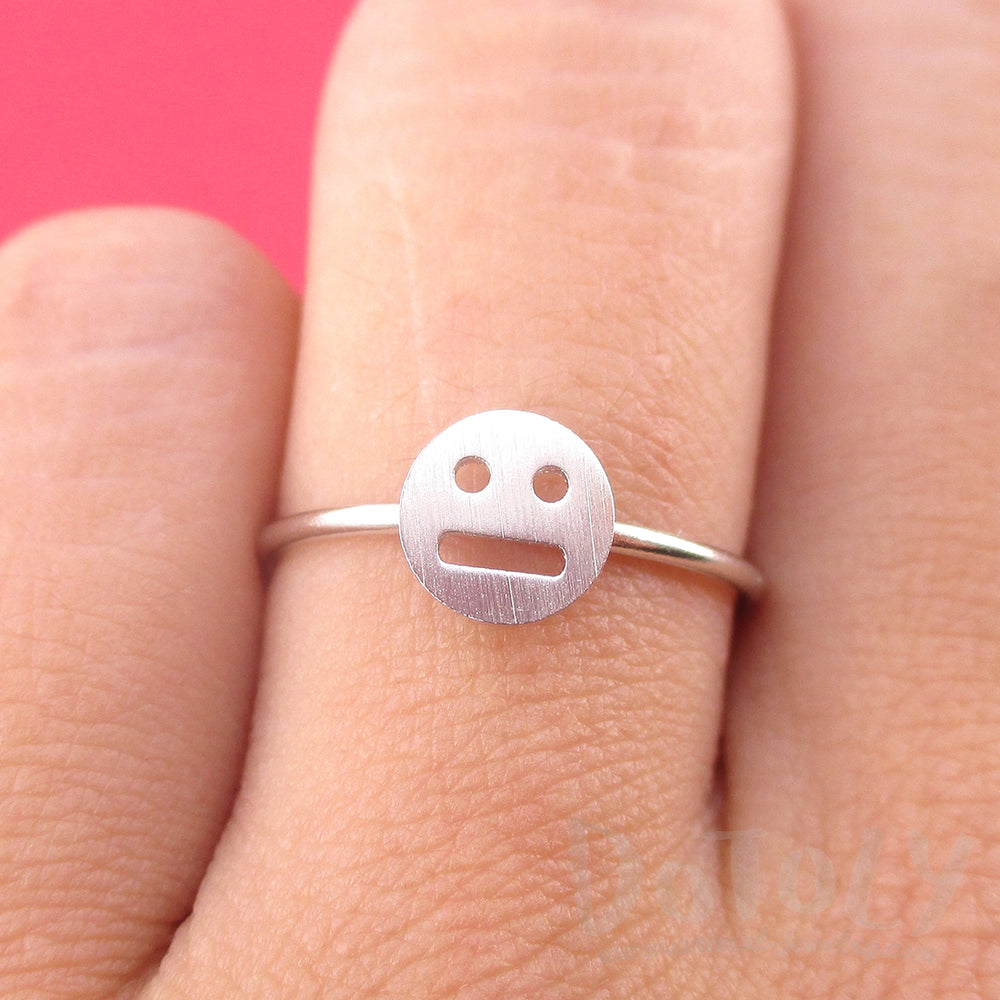 Expressionless Smile Meh Indifferent Face Emoji Themed Adjustable Ring in Silver