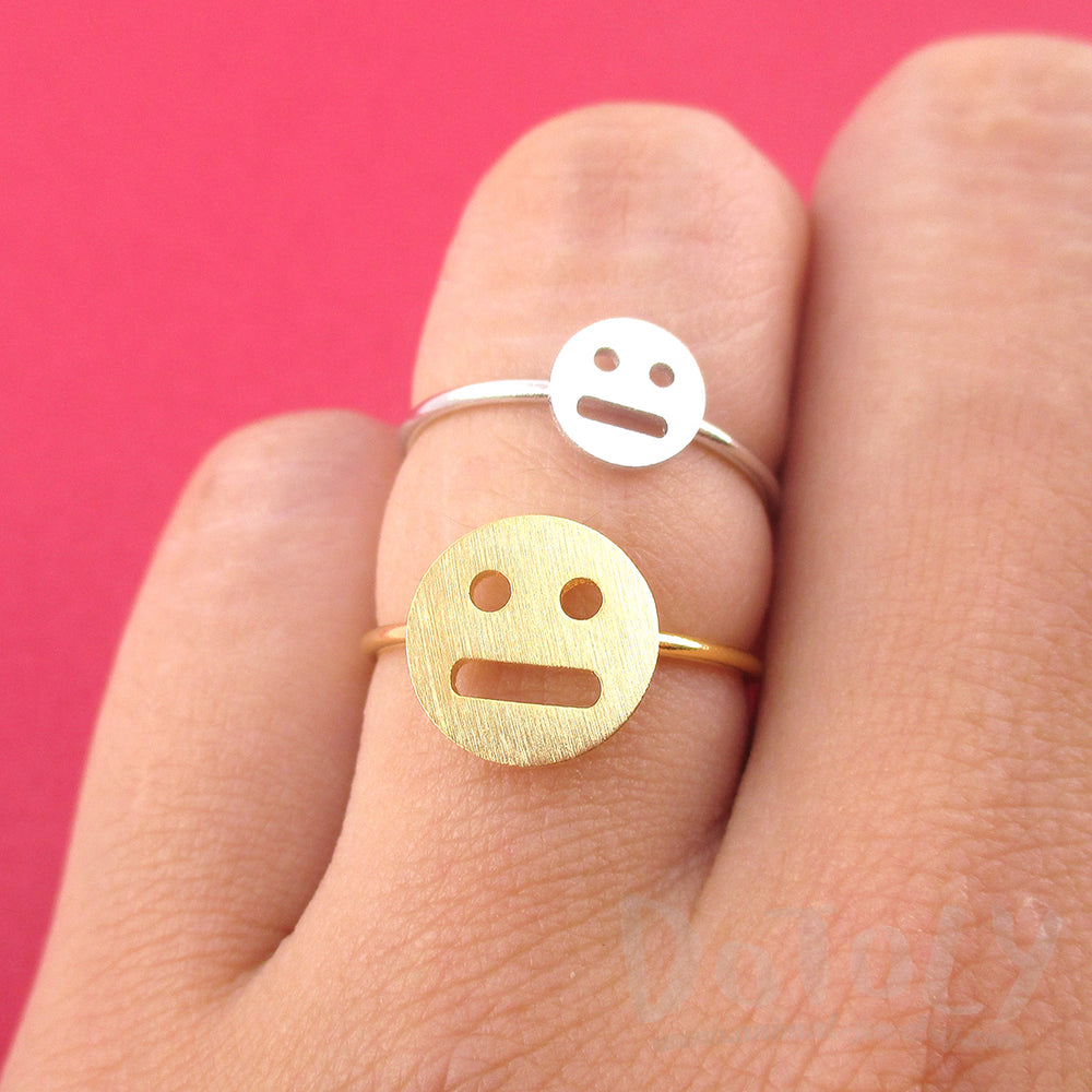 Expressionless Smile Meh Indifferent Face Emoji Themed Adjustable Ring | DOTOLY