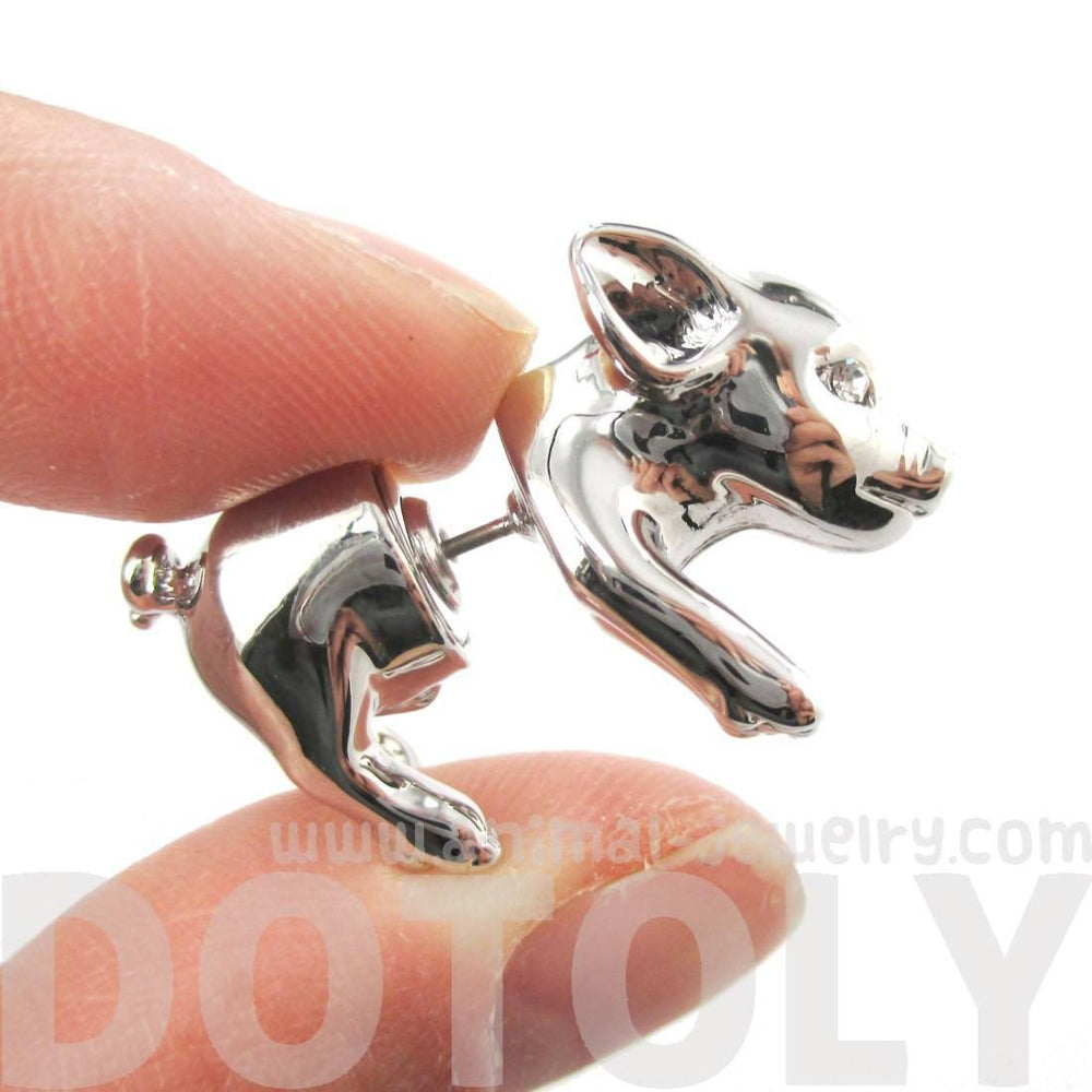 3D Piglet Shaped Animal Front & Back Two Part Earrings in Shiny Silver